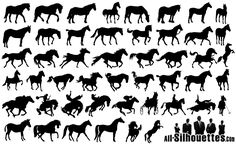 25 Horses Silhouettes for cakes, murals, outline ideas for paintings