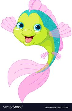 Cute cartoon fish vector image on VectorStock Art Drawings For Kids, Cute Animal Drawings, Cartoon Drawings, Cartoon Art, Easy Drawings, Art For Kids, Fish Drawing For Kids, Cute Cartoon Fish, Sea Drawing