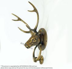 inches Vintage Antique Deer / Reindeer / Moose / Elk / Antler Animal Head Door Knocker Cast Solid Brass by ArtsofBrass on Etsy