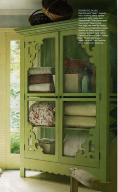 Painted Armoire Inspiration: brackets, 1 x 2's and hardware clothe