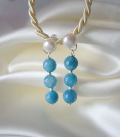 Aquamarin Ohrringe Süßwasserperlen Ohrstecker Aquamarine Pearl Earrings