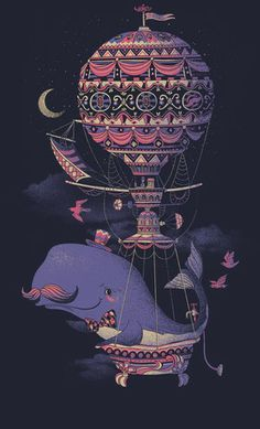 Vintage Whale and Balloon Mustache V-neck T-Shirt | Fuzzy Ink $26