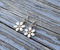 Opal Snowflake Earrings, Winter princess earrings, Opal drop earrings, Winter Earrings, White Opal earrings, ethiopian opal earrings