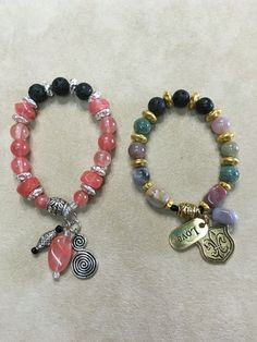 Cherry Quartz and Lava Beads, Fancy Jasper and Lava Beads Essential Oils Stretchy Bracelets