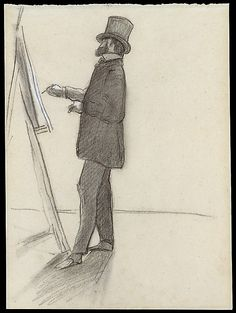 """Frédéric Bazille (1841-1870) - """"Manet and his Easel - Charcoal, blue and white chalk on blue laid paper faded to yellow-gray - http://www.metmuseum.org/collection/the-collection-online/search/460064"""