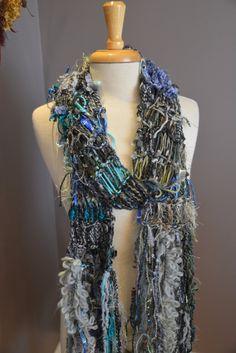 Dumpster Diva 'Poeme' Fringed Knit carf - Multitextural Fringed Cool Grey, Aqua, Steel Blue tones handknit scarf with fringe on Etsy, $40.00