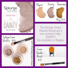 Splurge Cream Shadow by Younique - a high-density, velvety-smooth cream eye shadow, available in Elegant and Dainty. Order yours here: www.vickis3dlashes.com
