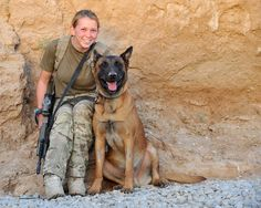 A dog handler and her military working dog, Archos. Photographer Cpl Si Longworth; Crown copyright.
