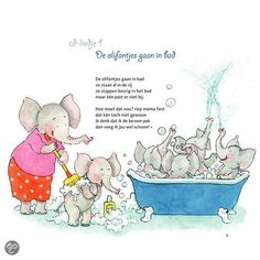 Olifant: versje 'De olifant gaat in bad' - - Elmer The Elephants, Ga In, Yoga For Kids, Safari, Diy And Crafts, Preschool, Poetry, Comics, Creative