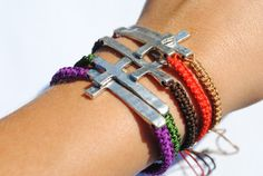 Friendship Bracelet with Cross Charm Silver by jackandhazelstore, $9.99