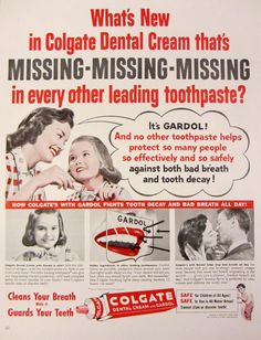 1956 Colgate Toothpaste Vintage Advertisement by RelicEclectic on Etsy #RelicEclectic #VintageAd #BathroomDecor #Dentist