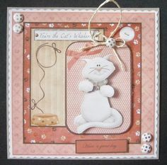 Bean the cat card with decoupage on Craftsuprint designed by Angela Wake - made by Davina Rundle -
