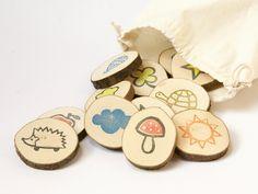 Gedächtnisspiele - Memory aus Holzscheiben - ein Designerstück von Ringelspatz bei DaWanda