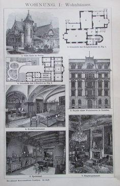 WOHNUNG I. II. 1895 Original Druck Antique Print Lithographie Brockhaus