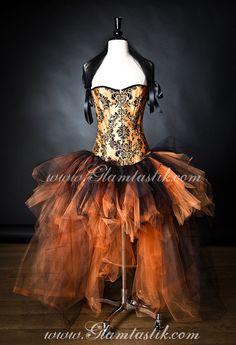 Size Large Orange and Black Damask Burlesque Corset by Glamtastik