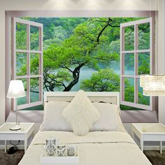 Free Shipping 3D fake windows tree landscape wallpaper mural bedroom modern restaurant decorated living room wallpaper
