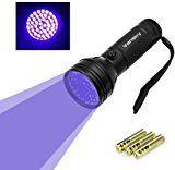 UV Torch, Vansky® UV Torch Blacklight 51 LEDs UV Flashlight Pets Urine Light Detector, Dogs/Cats Dry Stains UltraViolet Detector on Carpets, Rugs, Floor. 3 x AA Batteries Included