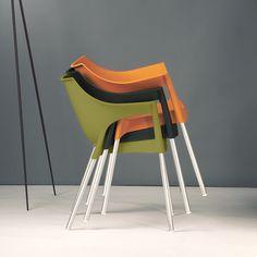 Stapelstuhl Pole (2er Set) - Kunststoff/Aluminium - Olivgrün/Chromfarben