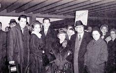 Bob Jones Sr. leaves on world tour, circa 1965.  Left to Right: Bob Jones III, Beneth Peters Jones, Jon Jones, Mary Gaston Jones, Bob Jones Sr, Fannie Holmes Jones
