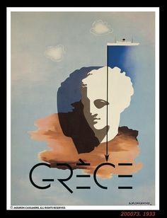 Grèce. Europe. Affiche ancienne. A.M. Cassandre atypika.ca