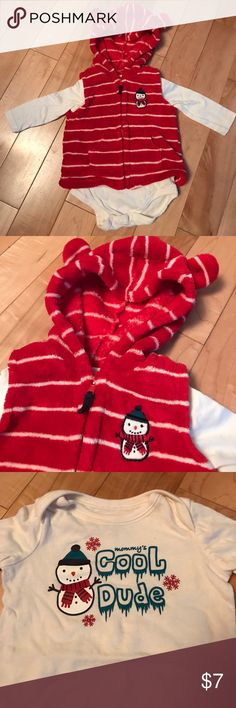 Red Vest with Long Sleeved Onesie Red and white striped hooded vest with bear ears and embroidered snowman on chest. Matching long sleeved snowman onesie. Washed once in dreft and never worn. Little Wonders Matching Sets