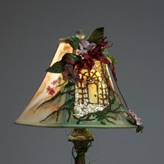 Artistic Hand Painted Lamp Shade Adorned by SHADESofEnchantment