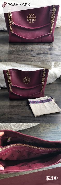 """Tory Burch Maroon Shoulder Bag Gorgeous brand new Tory Burch Maroon Shoulder bag (but can also be worn with the chain long)! Comes with dust bag. 14.5"""" L x 5"""" D x 10"""" H Tory Burch Bags Shoulder Bags"""