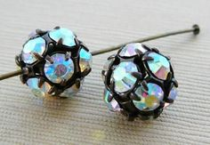 Czech Rhinestone Bead 10mm Disco Ball AB Clear by dibabeads, $4.50