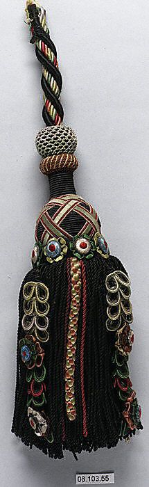 19th century French Tassel ~ Cotton and silk ~  L. 10 inches 25.4 cm