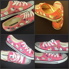 f0991149d2cb Hi Kitty converse hand painted shoes by IPaint4Kids on Etsy