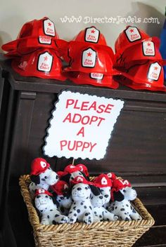 Firetruck (Fireman, Fire) Theme Preschooler Birthday Party at directorjewels.com. Ideas for Decorations and Games. Please Adopt A Dalmatian Puppy Party Favor.