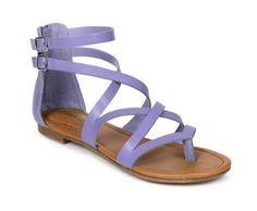 Leatherette Cross Strappy Gladiator Thong Flat Vegan Sandal Lavender