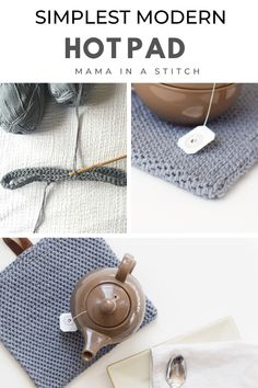 This easy hot pad is made with beginner crochet stitches and it's thick and so useful in the kitchen! I love the modern look with the leather strap. There's pictures to help you with this free crochet pattern. Crochet Stitches For Beginners, Knitting For Beginners, Beginner Crochet, Knitting Patterns, Crochet Patterns, Apron Patterns, Dress Patterns, Knitting Ideas, Crochet Ideas