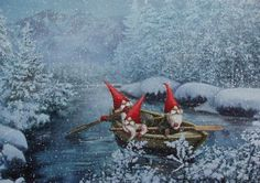 Three Gnomes in a Boat - Christmas Card