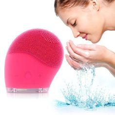 Quimat Nuovo Disegno Rosso Pulizia Viso Elettrico Ultra Morbido Mini Spazzola Silicone Righe Indietro Vibrazione Massaggio Sonic Facciale Sistema di Pulizia SPA Cura della Pelle