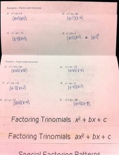 Factoring Polynomials Flipbook - flipbook and powerpoint included - perfect for Algebra 1 or Algebra 2