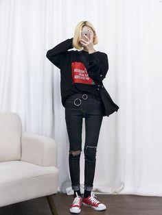 #korean, #fashion, #marishe                                                                                                                                                                                 More Korean Fashion School, Emo Fashion, Ulzzang Fashion, Japanese Street Fashion, Korea Fashion, Korean Fashion Tomboy, Fashion 101, Asian Fashion, Girl Fashion