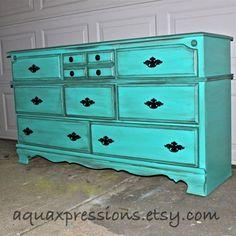 Bayside Blue Vintage Dresser /Dark Glaze /Black by AquaXpressions, $450.00