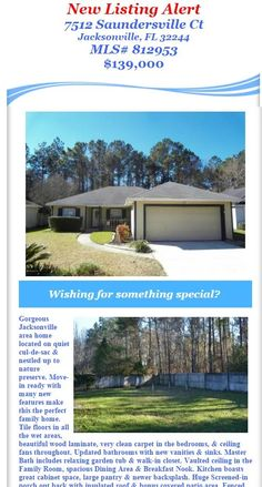 New Listing Alert: Just Listed House in Greyfield. 7512 Saundersville Ct, Jacksonville, FL 32244, MLS# 812953, $139,000. Brought to you by INI Realty Investments Inc., the first 100% Commission Real estate Office in Jacksonville, FL. www.100RealestateJax.com