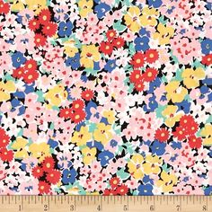 Michael Miller Vintage Florals Glenda Black from @fabricdotcom  Designed for Michael Miller, this cotton print fabric is perfect for quilting, apparel and home decor accents. Colors include black, blue, red, aqua, pink, yellow, and white.