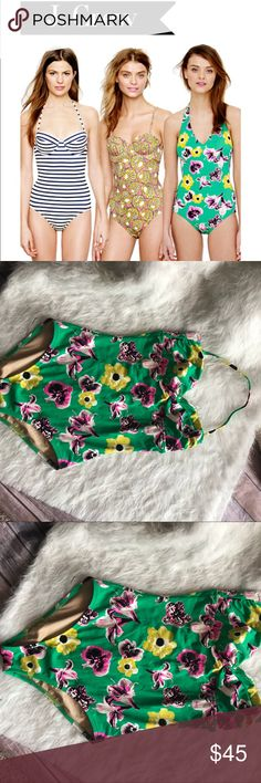 J.Crew green floral one piece swimsuit J.Crew green floral one piece swimsuit  J.CREW Multi Color One Piece Sexy Halter Top Swimsuit sz 6 RN77388 USA. Fits closest to medium  Pre owned no visible defects. J. Crew Swim One Pieces