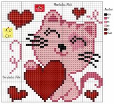 Cross Stitch Fabric, Cross Stitch Cards, Cute Cross Stitch, Cross Stitching, Cross Stitch Embroidery, Pixel Crochet Blanket, Crochet Chart, Pixel Pattern, Cat Pattern