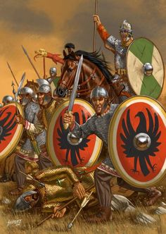 The legions of Emperor Diocletian fighting and defeating the Sarmatians