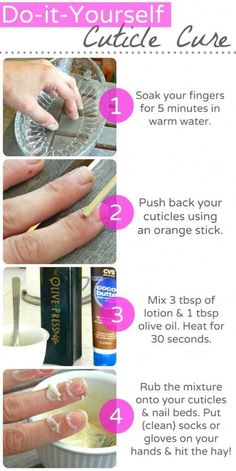 You can make your own overnight cuticle treatment out of olive oil and cocoa butter: | 15 Important Tips For Having The Healthiest Nails Ever