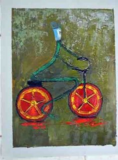 Colorful Modern Oil Painting, Abstract Home Decore, popular style cyclist design