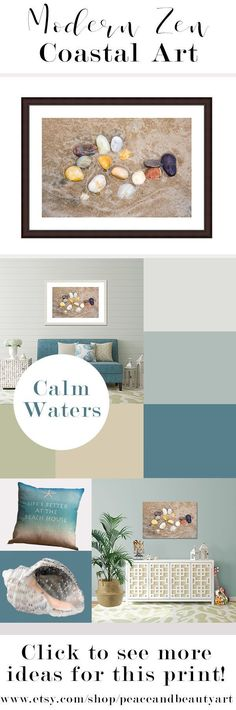 Bring some modern, zen, coastal art into your home with this minimalist, beach stone wall art print.  Featuring beautiful neutrals of beige, taupe, creamy yellow and brown tones, this artwork is versatile and will look great in your yoga studio, bathroom, living room or bedroom and it pairs perfectly with with coastal, beach, boho or masculine decor. Gray, blue, taupe, beige, neutral color palette