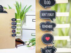 DIY - Mehr Ordnung auf dem Schreibtisch dank Wäscheklammern – free printable  Mit Anleitung und gratis Druckvorlage http://barfussimnovember.com