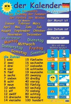 German Calendar & Numbers - How Is The Weather?