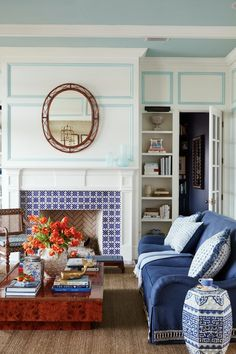 Dated Tuscan Home Transforms With Blue and White Decor