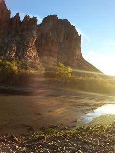 Sun setting at Salt River in Mesa, Az